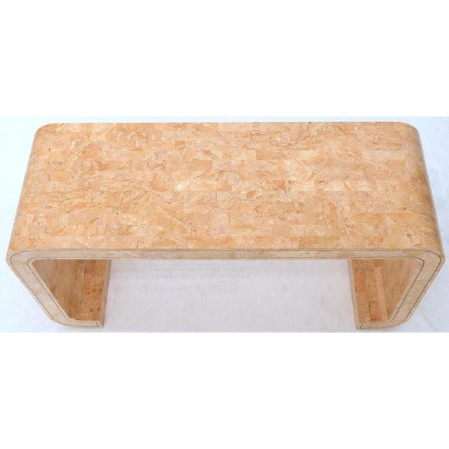 Tessellated Marble Stone Brass Inlay C Bracket Shape Console Sofa Table For Sale - Image 9 of 11
