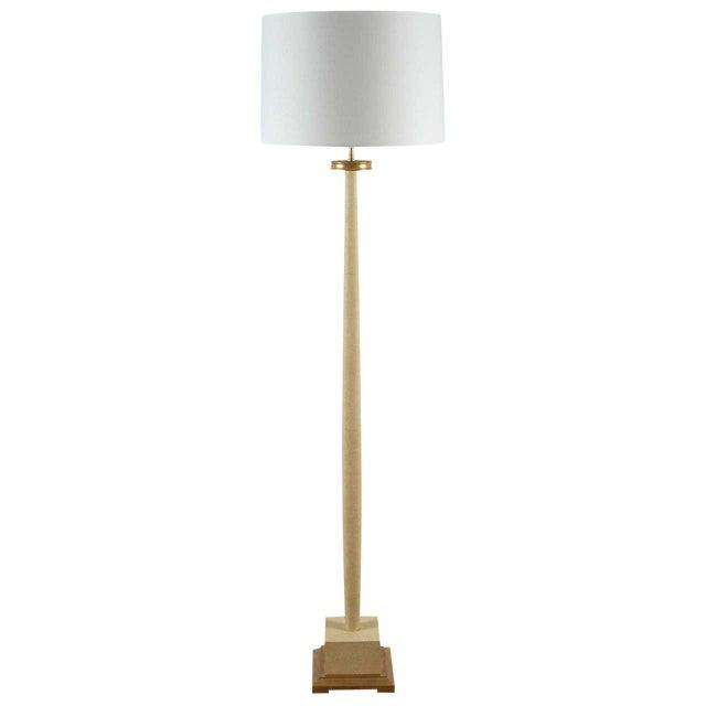 Paul Marra Elegant 1940s Inspired Cream Faux Shagreen Floor Lamp For Sale