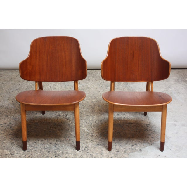 Christensen & Larsen Ib Kofod-Larsen Danish Sculptural Shell Chairs in Teak and Beech - a Pair For Sale - Image 4 of 13