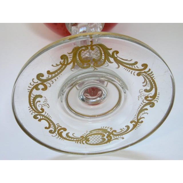 Glass Antique Gold Encrusted Crystal Chalice Vase For Sale - Image 7 of 7