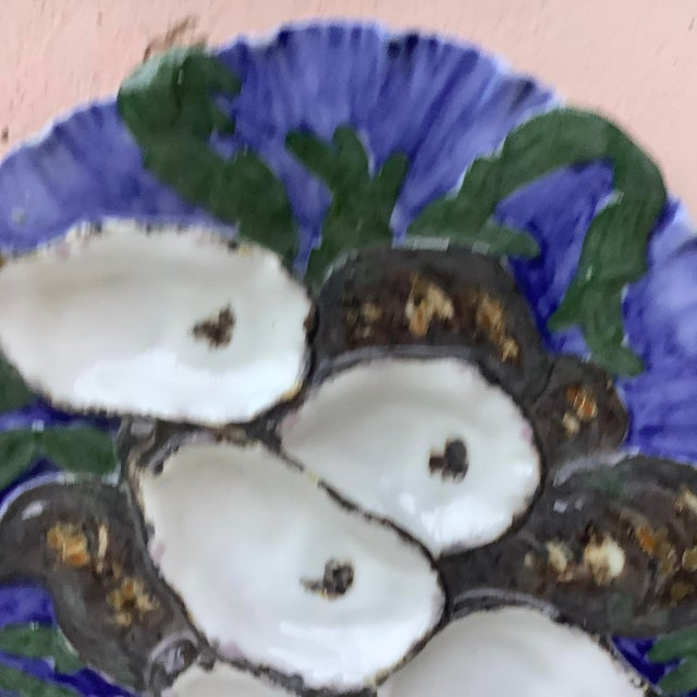 Antique 19th century French porcelain oyster plate with the turkey pattern signed Limoges Haviland.