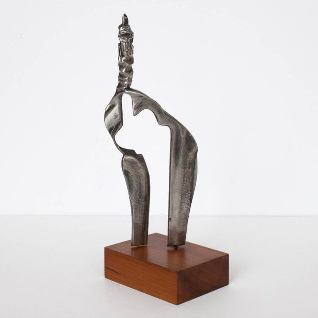 1970s Set Two Cast Aluminum Modernist Abstract Sculptures For Sale - Image 5 of 11