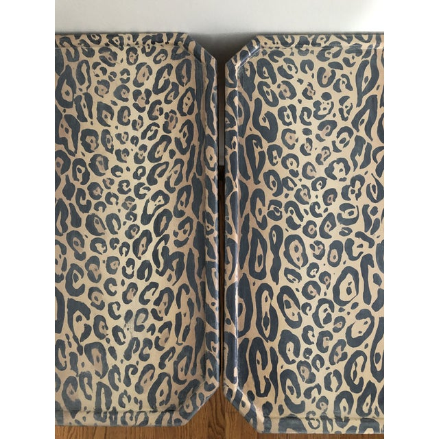Hollywood Regency Neoclassical Hand Painted Faux Leopard Side Tables - a Pair For Sale - Image 3 of 10