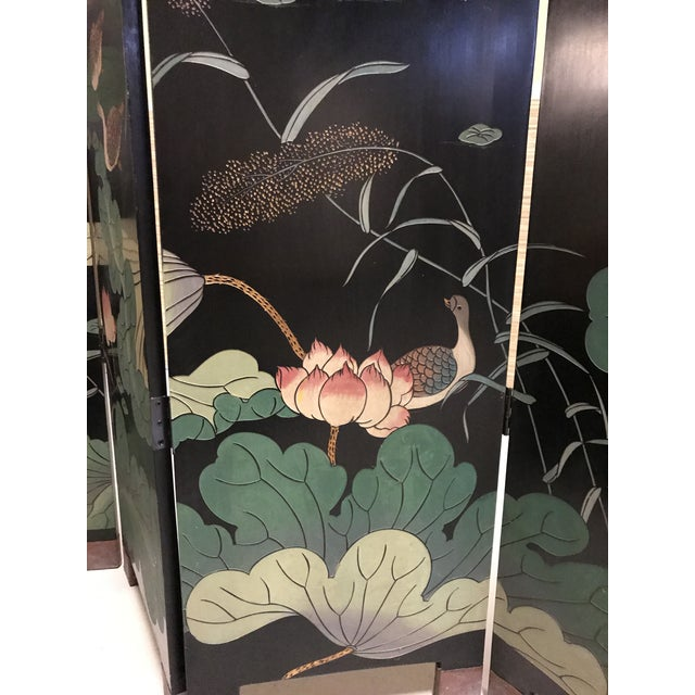 Vintage Chinese Lacquer Coromandel 4-Panel Screen For Sale - Image 5 of 11