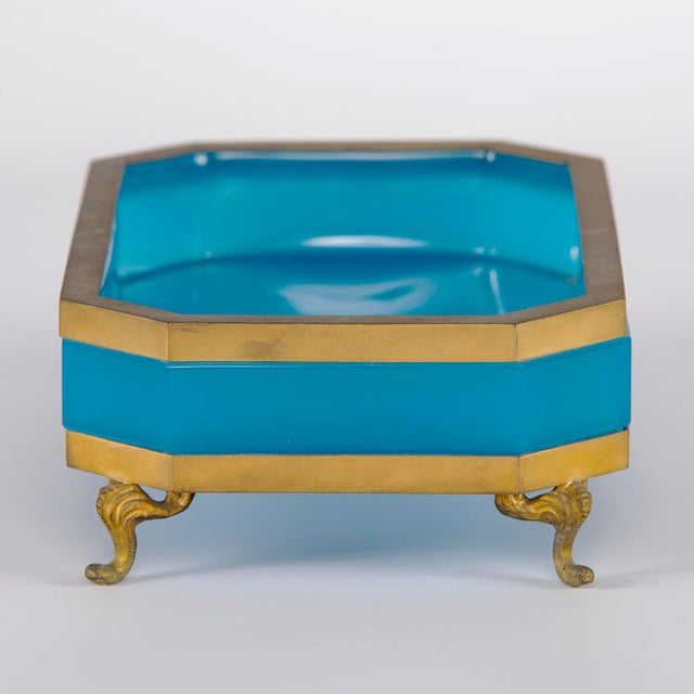 1920s French Footed Blue Opaline Glass and Brass Dish For Sale - Image 5 of 13