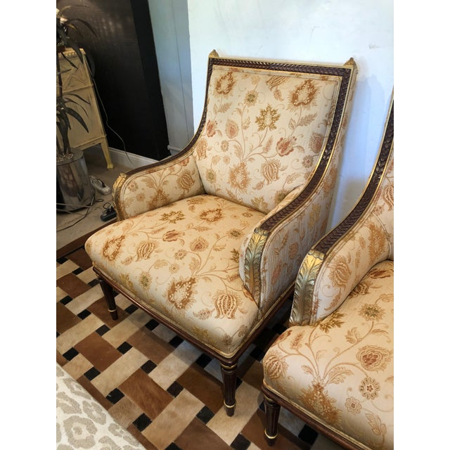 Lovely Pair of Carved Gilded Wood and Upholstered French Bergère For Sale - Image 12 of 13
