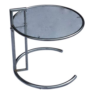 1970's Eileen Gray E 1027 Style Tubular Chrome Adjustable Accent Table For Sale