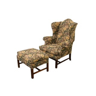 Late 20th Century Vintage Lineage Home Furnishings Floral Upholstered Wingback Arm Chair Set- 2 Pieces For Sale