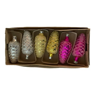 1980s Vintage Russian Glass Frosted Pine Cone Christmas Ornaments - Set of 6 For Sale