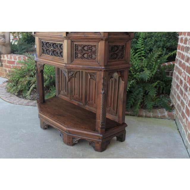Antique French Gothic Vestry Sacristy Cabinet Oak 19th Century For Sale - Image 11 of 13