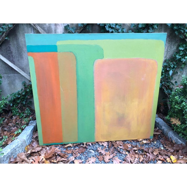 Canvas Large Vintage Mid Century Abstract Oil Painting on Canvas in the Style of Josef Albee's For Sale - Image 7 of 9