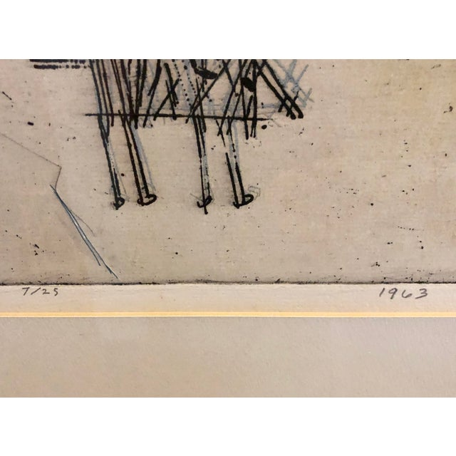 """1963 """"Artists Sketch Book"""" 7/25 Original Itaglio by Malcolm H. Myers, Framed For Sale - Image 11 of 13"""