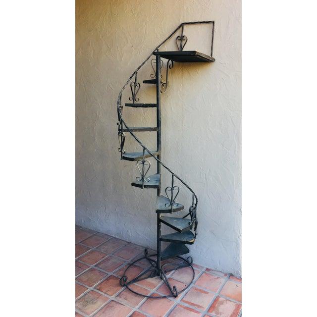 Vintage Wrought Iron Spiral Staircase Plant Stand Garden Art