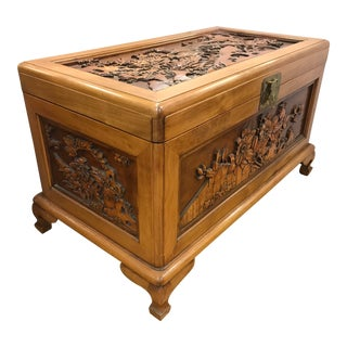 Chinese Carved Trunk Box Cedar Lined For Sale