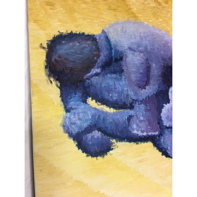 Pointillism Painting of Yoga Crouching Man For Sale In New York - Image 6 of 9