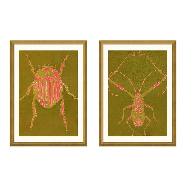 Beetle & Bug Diptych, Bright Series no. 5 by Jessica Molnar in Gold Frame, Large Art Print For Sale