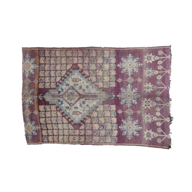 "Boho Chic Boujad Vintage Moroccan Rug, 6'3"" X 9'3"" Feet For Sale - Image 3 of 6"