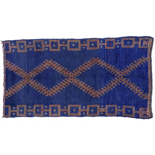 Vintage Berber Blue Moroccan Rug, 5'10x11' For Sale
