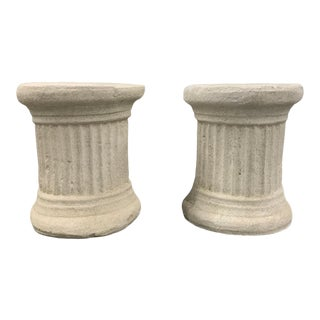 Vintage Plaster Columnar Side Tables - a Pair For Sale