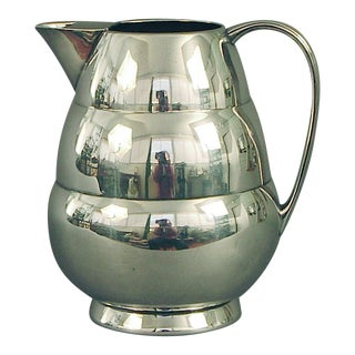 1920s Art Deco Silver Plate Water Pitcher by the International Silver Co, of Meriden Ct For Sale