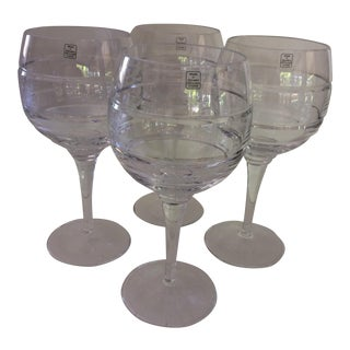 Lead Cut Crystal Wine Goblets - Set of 4 For Sale