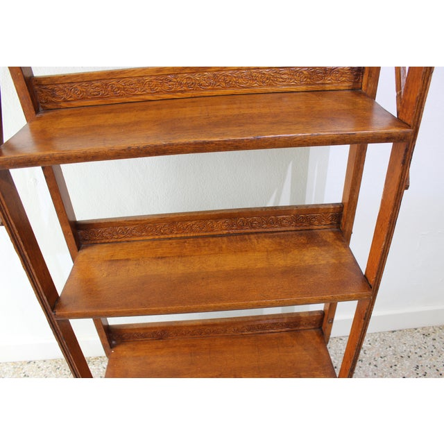 Antique Victorian Folding Bookcase in Incised Oak For Sale - Image 4 of 13