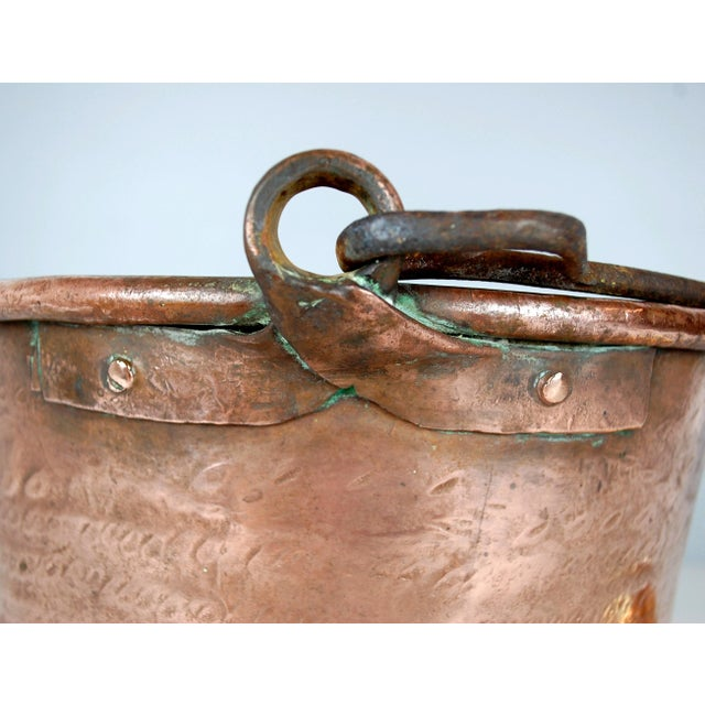 Country Antique Copper Cauldron Kettle For Sale - Image 3 of 9