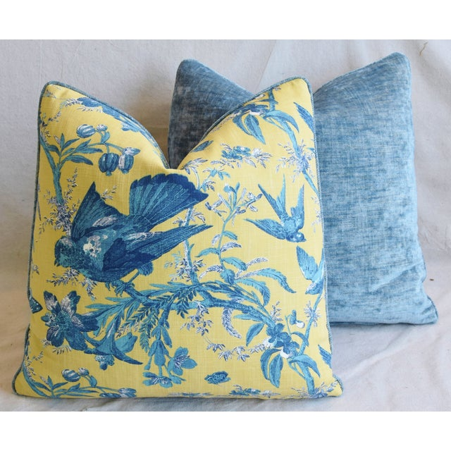 """Designer Blue & Yellow Bird and Butterflies Feather/Down Pillows 21"""" Square - Pair For Sale - Image 12 of 13"""