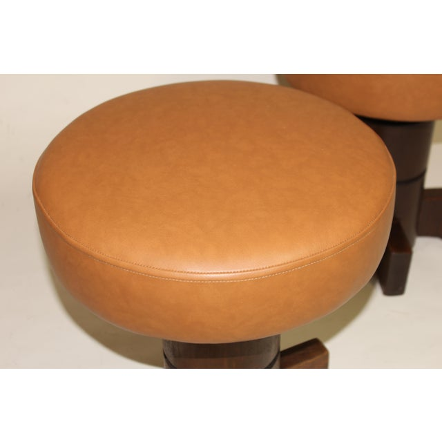 Vintage Mahogany Stools For Sale In New York - Image 6 of 7