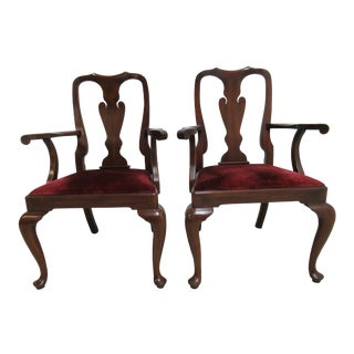 1980s Vintage Henkel Harris Mahogany Queen Ann Chippendale Dining Room Arm Chairs- A Pair For Sale