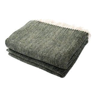 Contemporary Chalet Throw Moss Wool Blanket For Sale