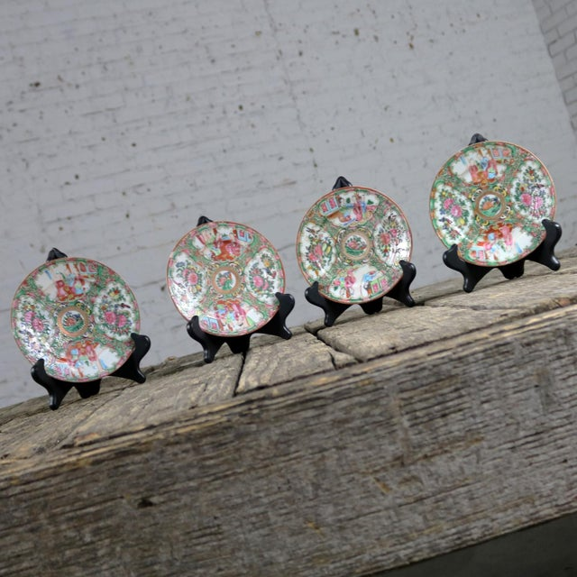 Wonderful set of four antique Chinese Qing Rose Medallion porcelain 6-inch plates with a traditional medallion design...