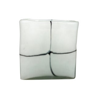 Square Frosted Glass Vase For Sale