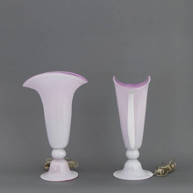 Pair of Mid Century Modern Italian Barovier & Toso Murano Glass Trumpet Lamps in Lavender & Pink - Image 5 of 9