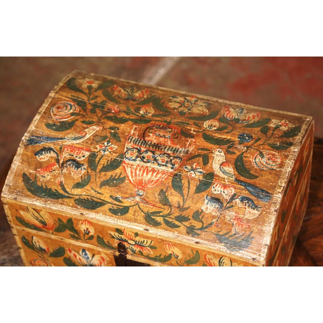 18th Century French Normand Painted Wedding Box With Bird and Floral Motifs For Sale - Image 4 of 12