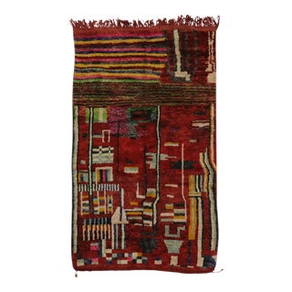 Berber Moroccan Red Rug with Modern Tribal Style For Sale