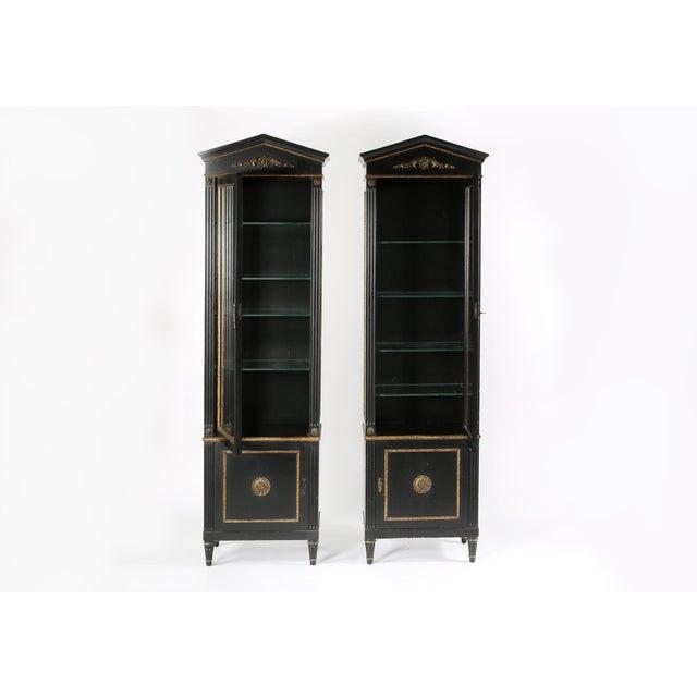 Wood Pair Mid 20th Century Gilt Wood Ebonised Cabinets / Vitrines For Sale - Image 7 of 13