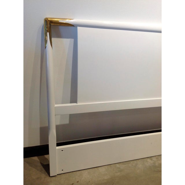 Mid Century Modern Lacquered Wood and Brass Robsjohn-Gibbings for Widdicomb Headboard - Image 3 of 6