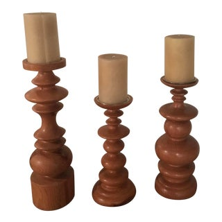 1990's Organic Modern Large Wood Candle Holders - Set of 3 For Sale