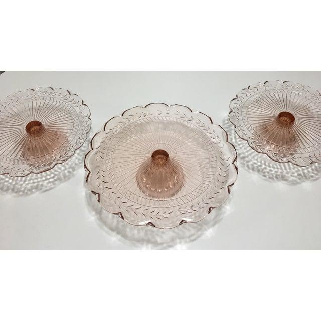 Pink Depression Glass Pedestal Cake Plates - Set of 3 - Image 5 of 8