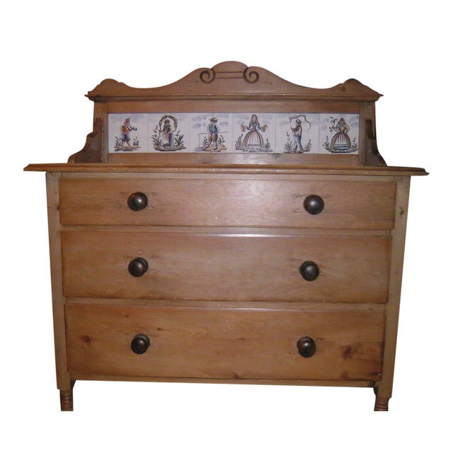 Antique Pine Dresser with Tile Back - Image 1 of 7
