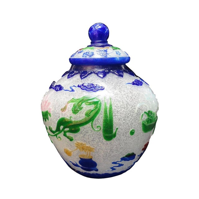 This is a traditional Chinese Peking glass art piece in icy half transparent white base color. The overlay is in blue &...