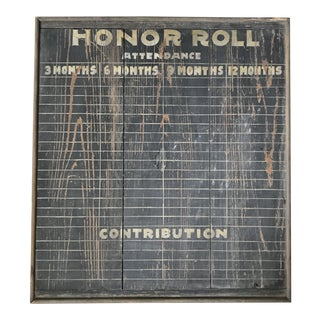 Antique Schoolhouse Honor Roll Chart For Sale