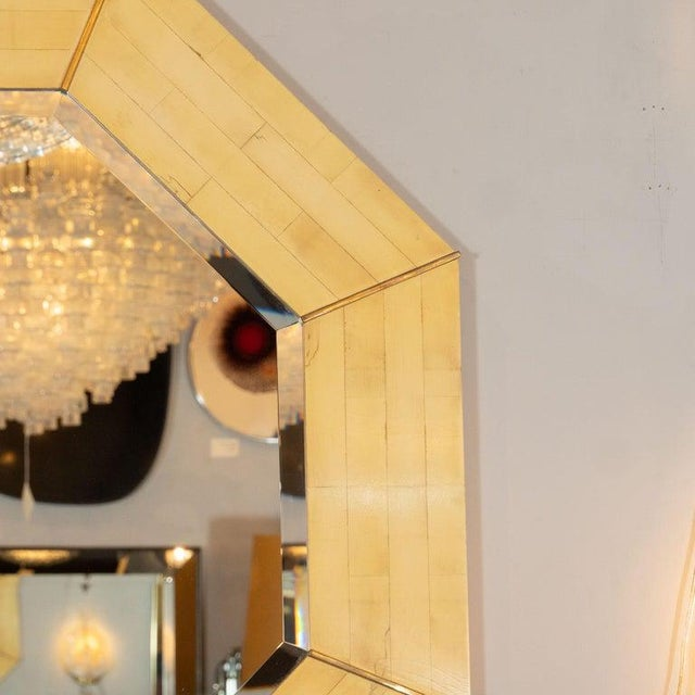 Art Deco Karl Springer Mid-Century Modern Marbleized Lacquer and Brass Octagonal Mirror For Sale - Image 3 of 6