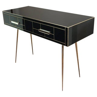 Italian Edizioni Two-Drawer Mirrored and Brass Writing Desk, Mid-Century Modern For Sale