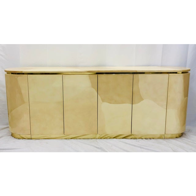 Contemporary Vintage Mid Century Modern Brass Wrapped Credenza For Sale - Image 3 of 13