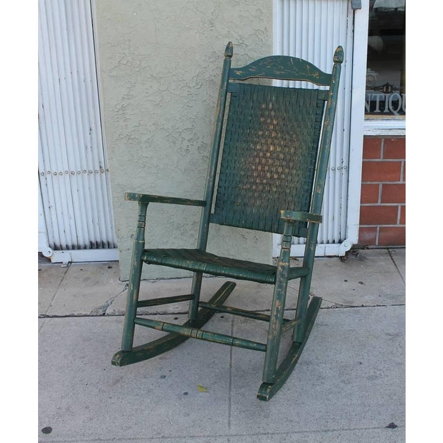 Early 20th Century Original Green Painted Rocking Chair - Image 3 of 7