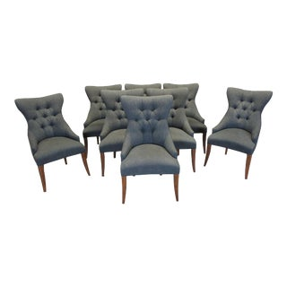 Vintage Bernhardt Deco Tufted Back Low Arm Dining Chairs - Set of 8 For Sale