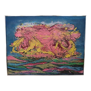 French Monumental Pink & Blue Abstract Oil Painting by Norma Bergerac