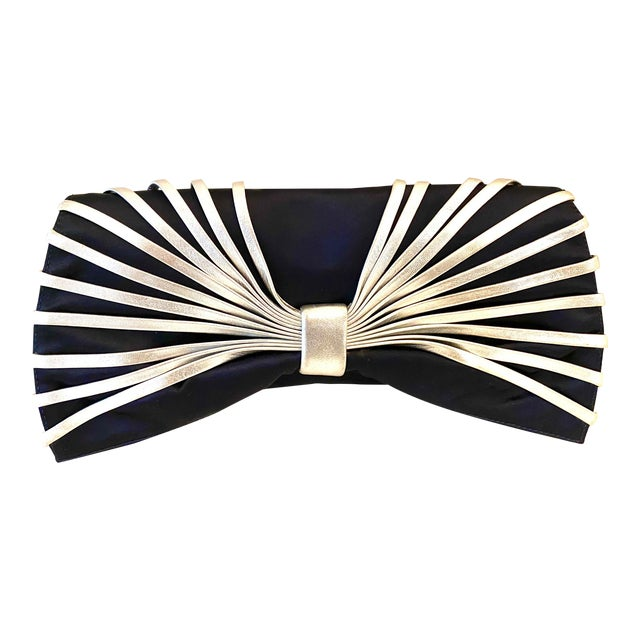 Rodo Navy Silk Clutch With Metallic Silver Leather Detail For Sale